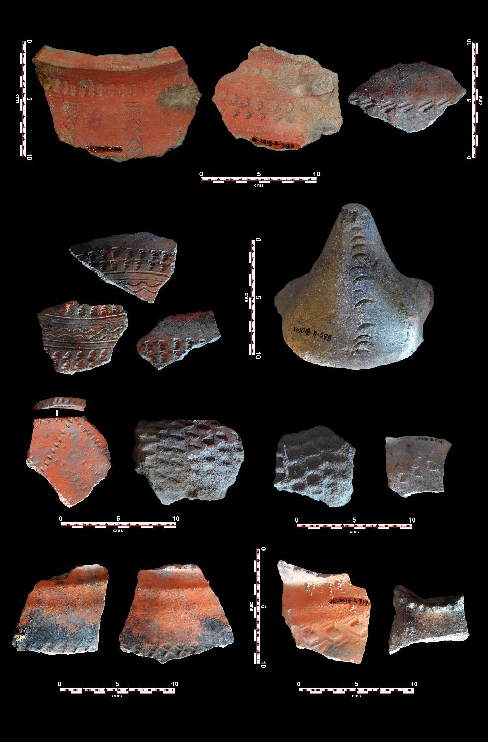 Stamped and incised high-fired ceramics from 17th and 18th century deposits at Jesuit House. Source: Tiauzon.