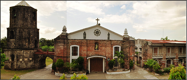 The Parish of Milaor, Camarines Sur showing the bell tower (extreme left), the main church structure (middle) and the convent (extreme right). The brick sample used in this study was acquired from the convent. Source: Photo by JM Cayme, April 2014.