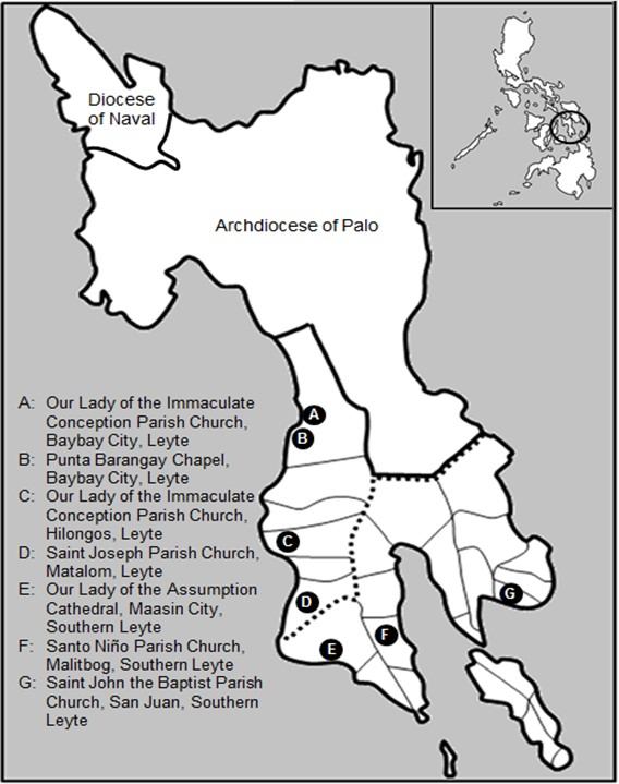 Locations of the Seven Filipino-Spanish Churches of the Diocese of Maasin.